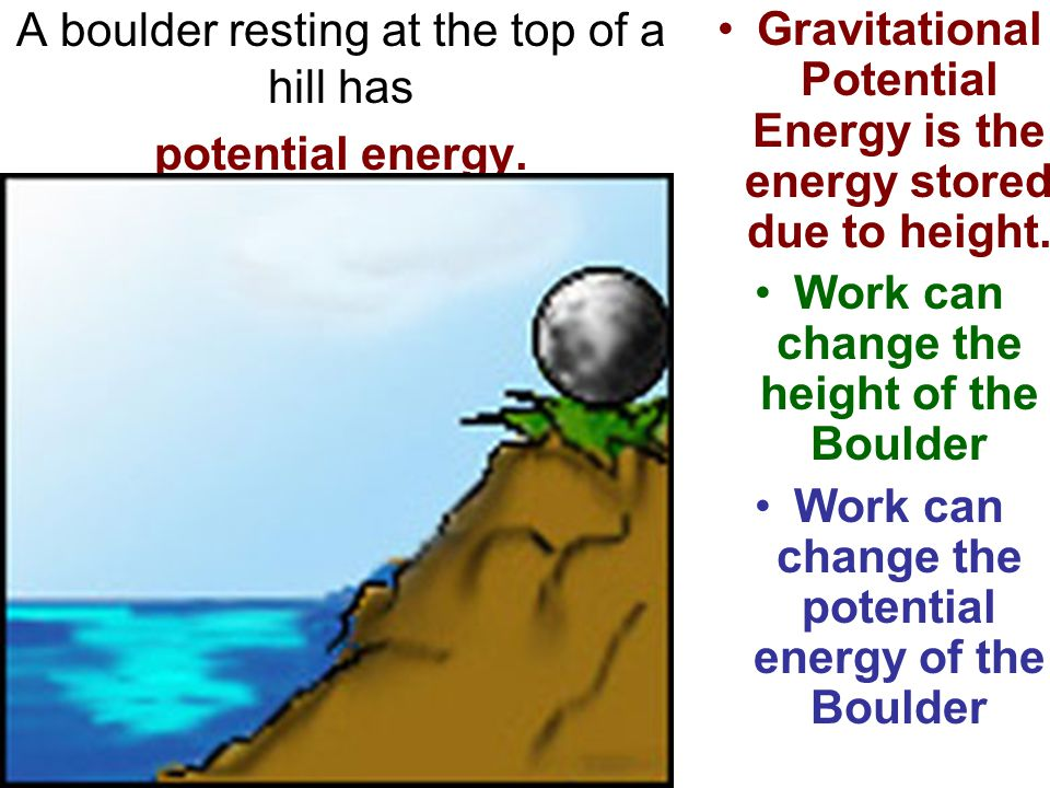 A boulder resting at the top of a hill has potential energy.