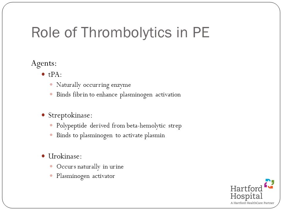 Role of Thrombolytics in PE