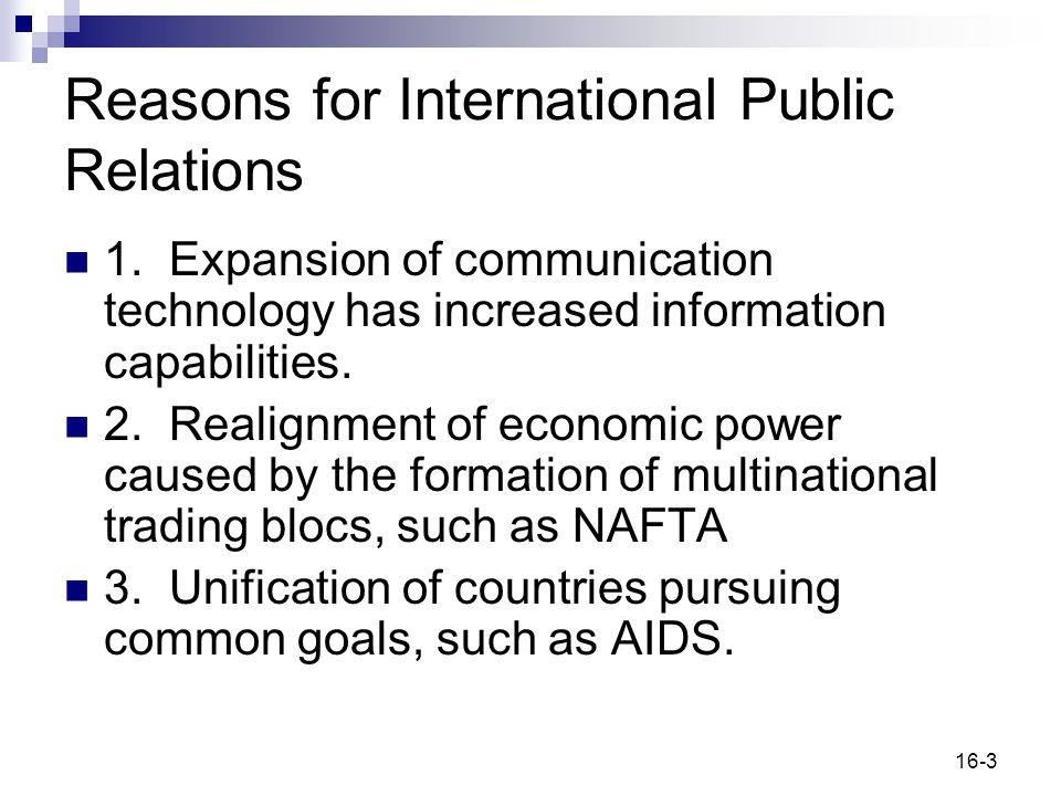 Reasons for International Public Relations