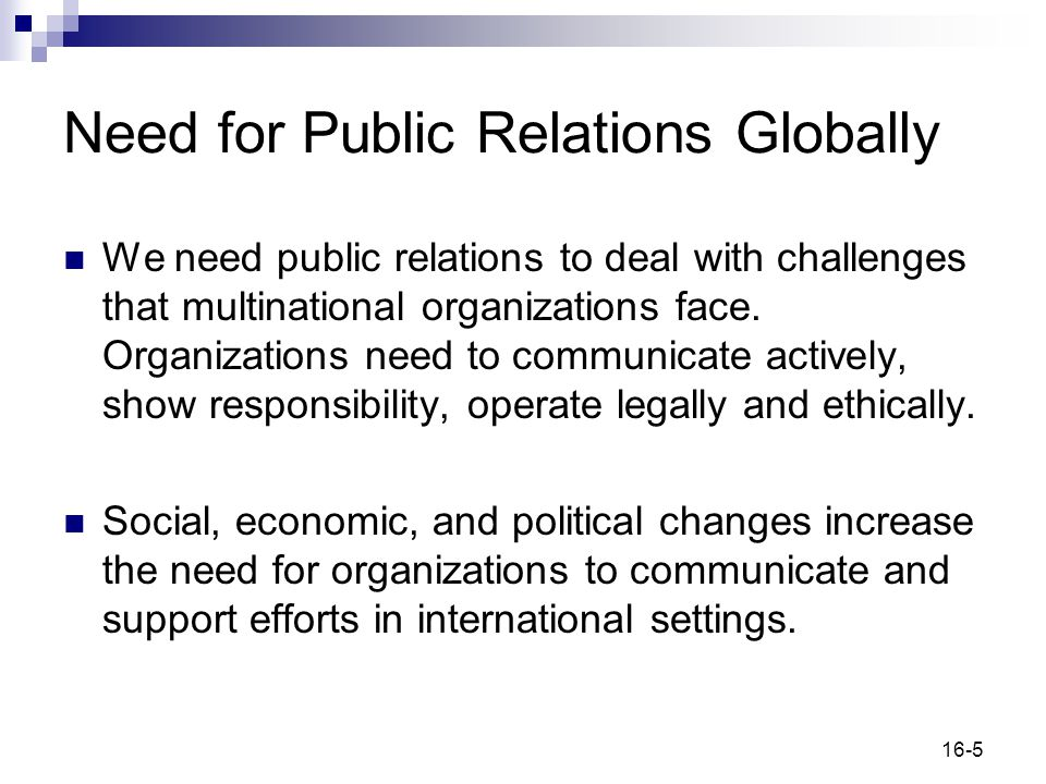 Need for Public Relations Globally