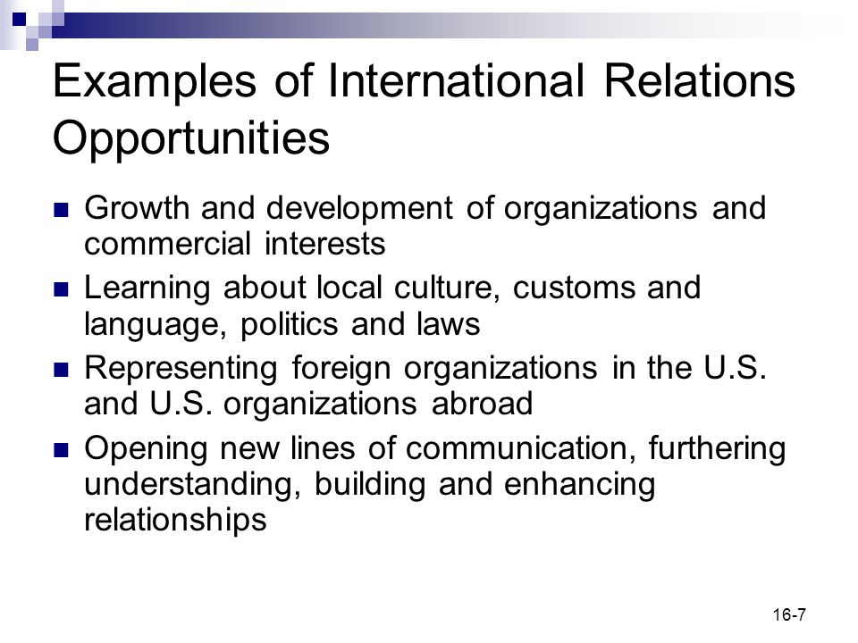 Examples of International Relations Opportunities