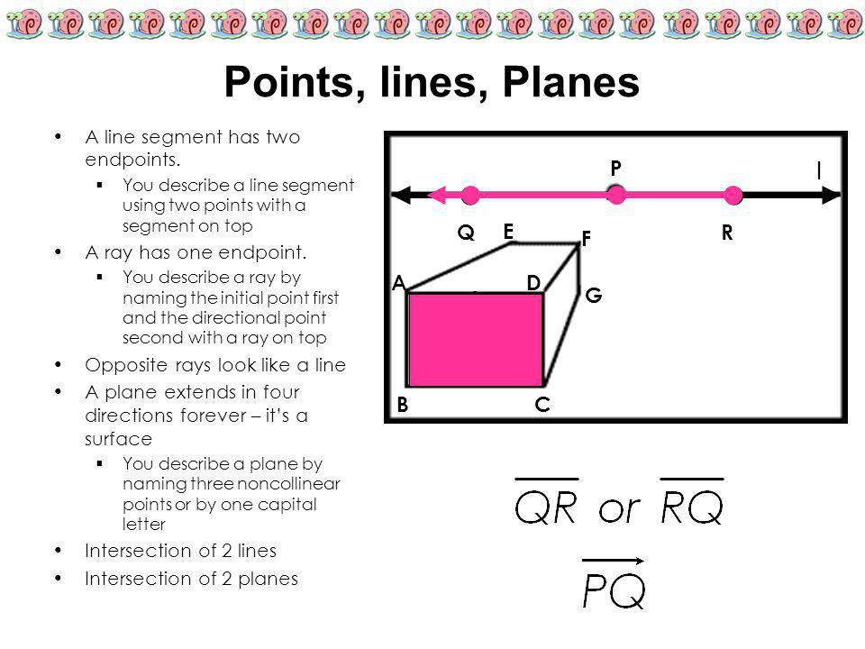 Points, lines, Planes ● ● l P Q R E F A D ● X G B C