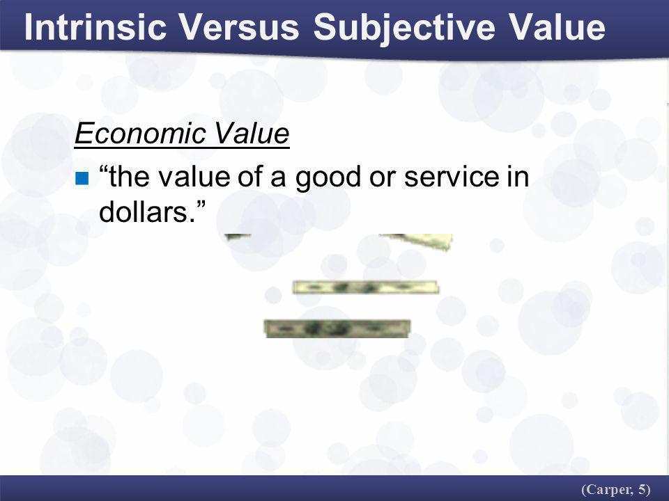 Intrinsic Versus Subjective Value