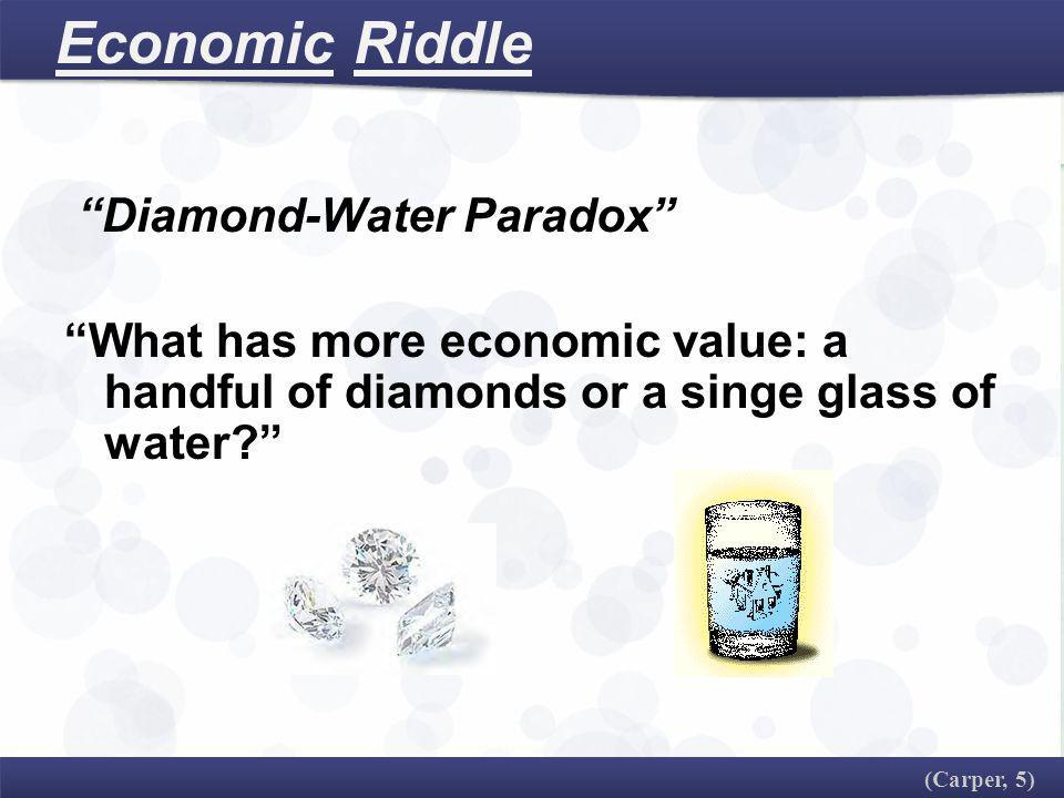 Economic Riddle Diamond-Water Paradox What has more economic value: a handful of diamonds or a singe glass of water