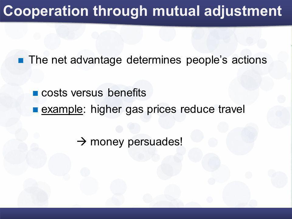 Cooperation through mutual adjustment