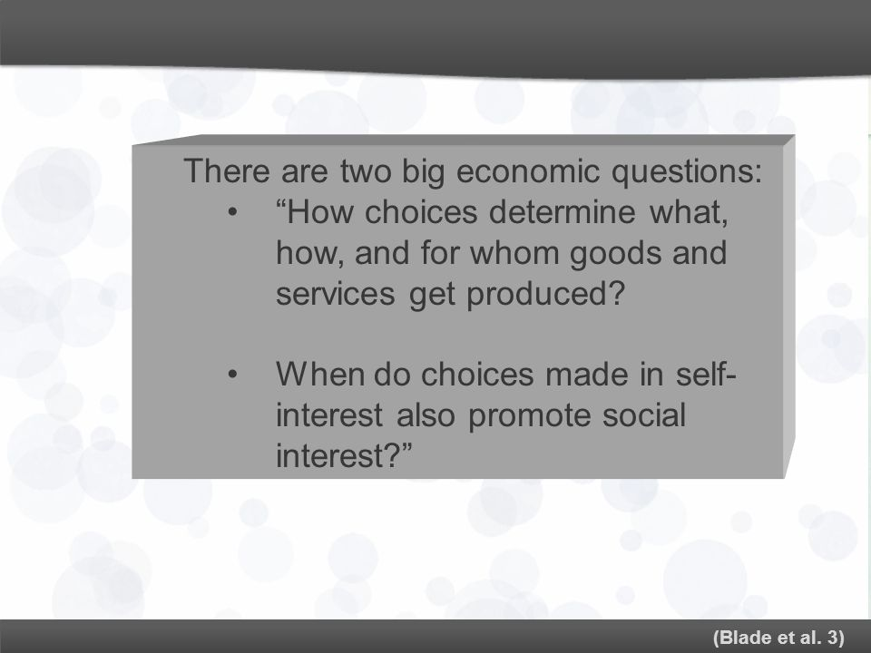 There are two big economic questions: