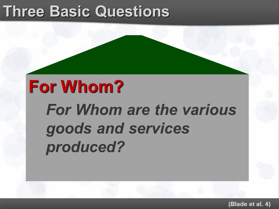 For Whom Three Basic Questions