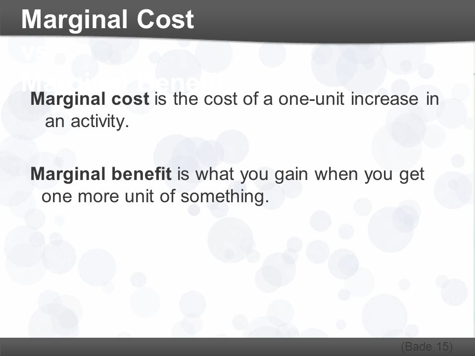 Marginal Cost vs. Marginal Benefit