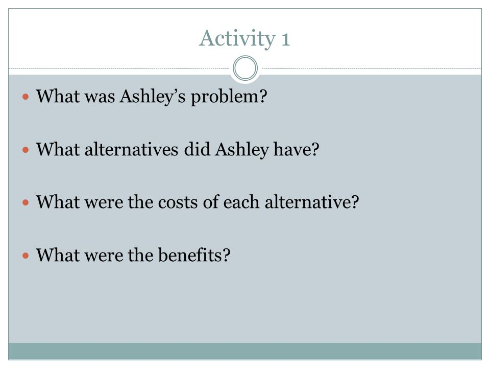 Activity 1 What was Ashley's problem