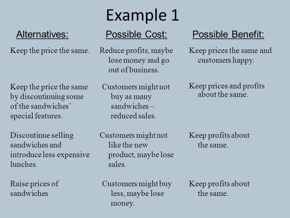 Example 1 Alternatives: Possible Cost: Possible Benefit: