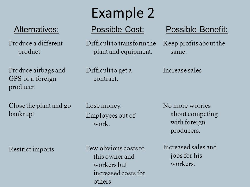 Example 2 Alternatives: Possible Cost: Possible Benefit: