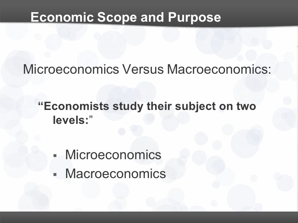 Economic Scope and Purpose