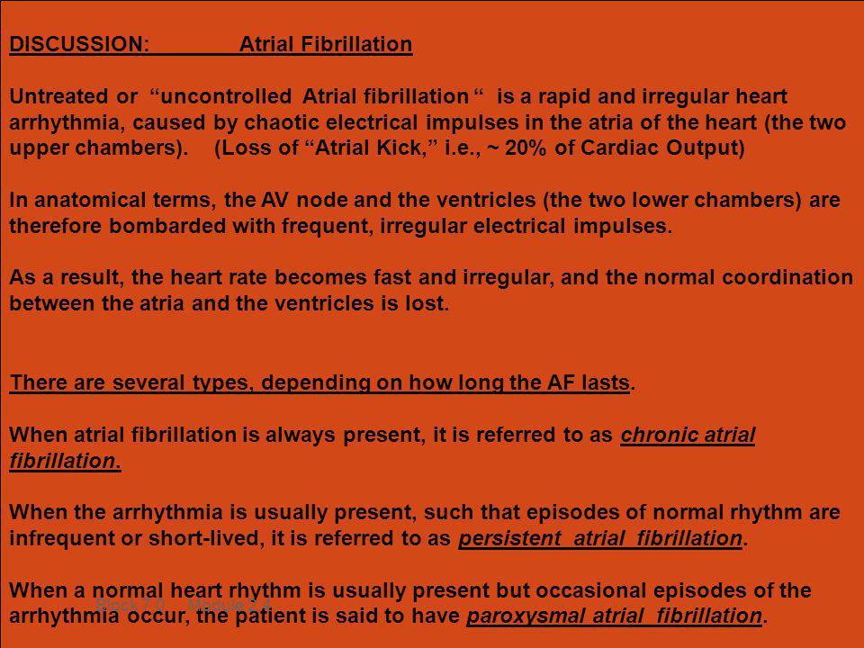DISCUSSION: Atrial Fibrillation