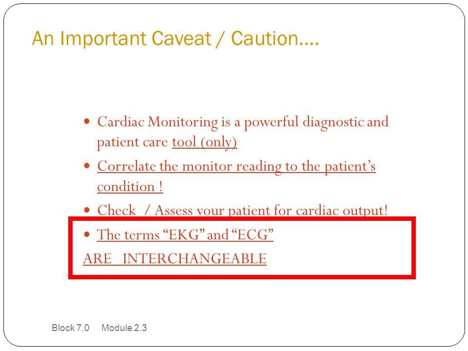 An Important Caveat / Caution….