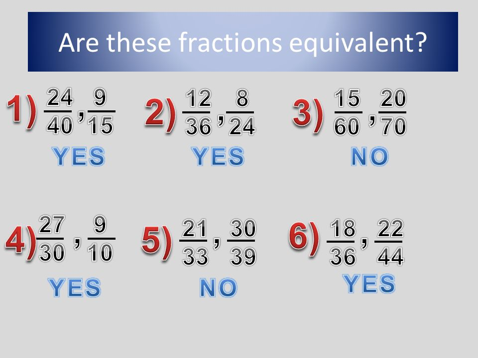 Are these fractions equivalent