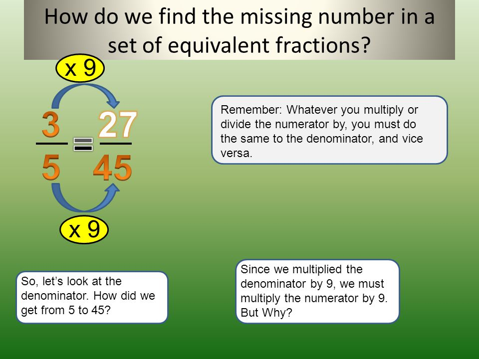 How do we find the missing number in a set of equivalent fractions
