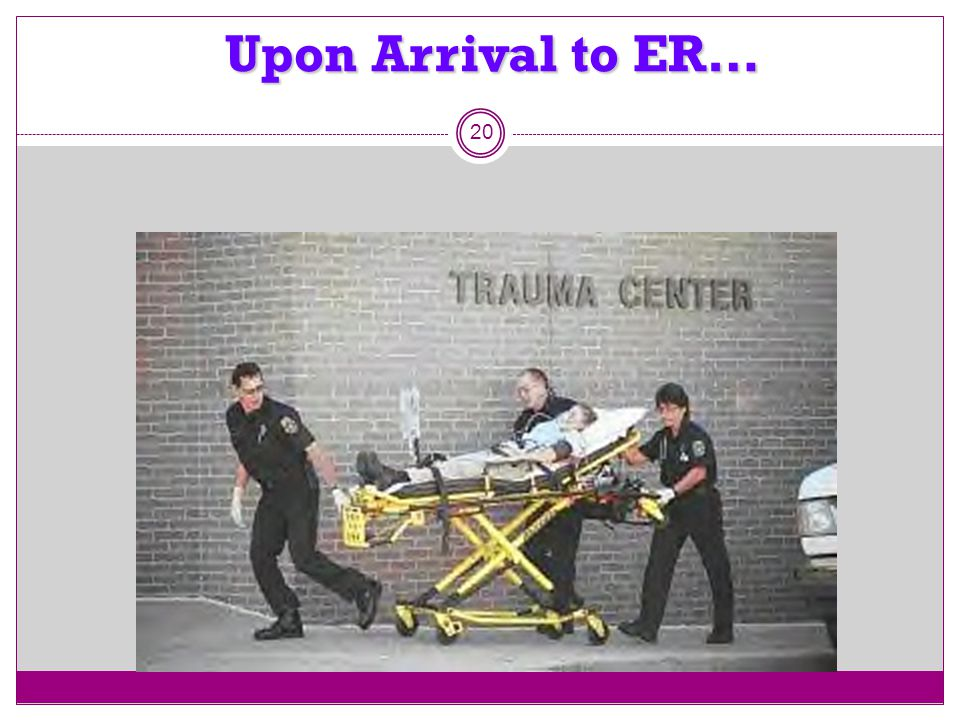 Upon Arrival to ER…