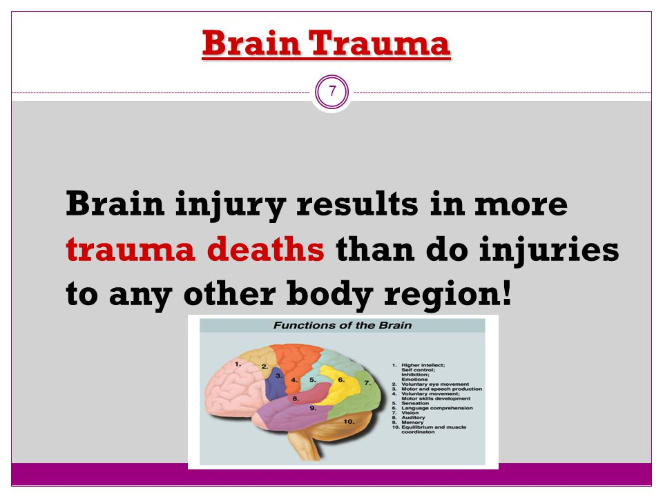 Brain Trauma Brain injury results in more trauma deaths than do injuries to any other body region!