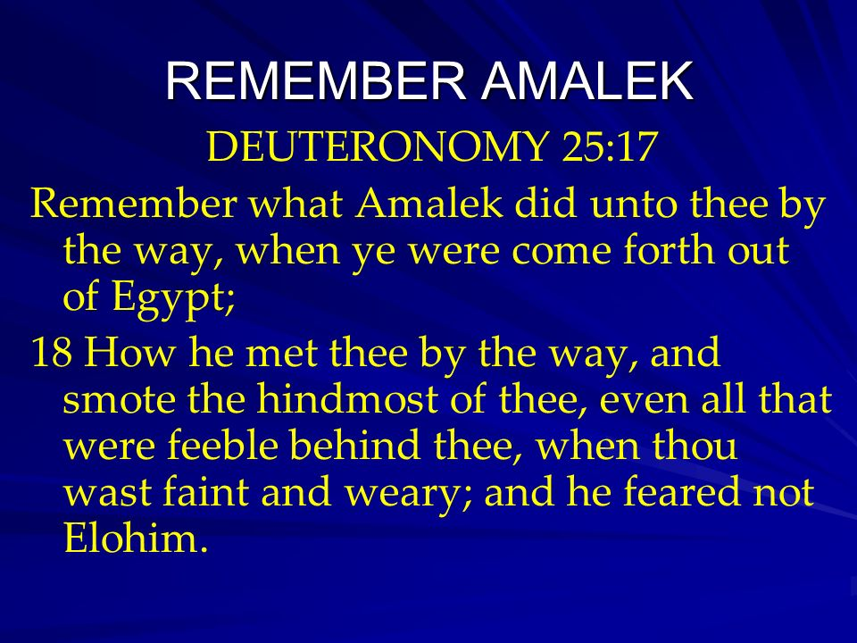 REMEMBER AMALEK DEUTERONOMY 25:17