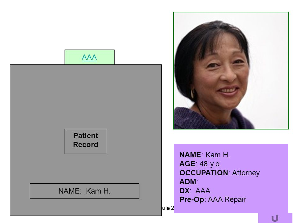 AAA Patient Record NAME: Kam H. AGE: 48 y.o. OCCUPATION: Attorney ADM: