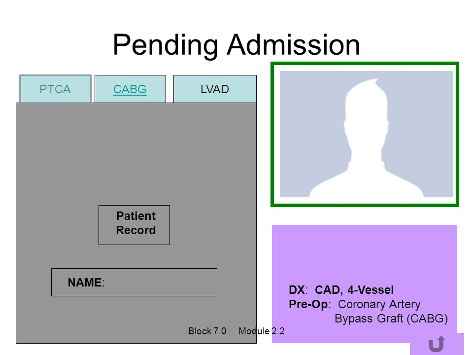Pending Admission PTCA CABG LVAD Patient Record NAME: