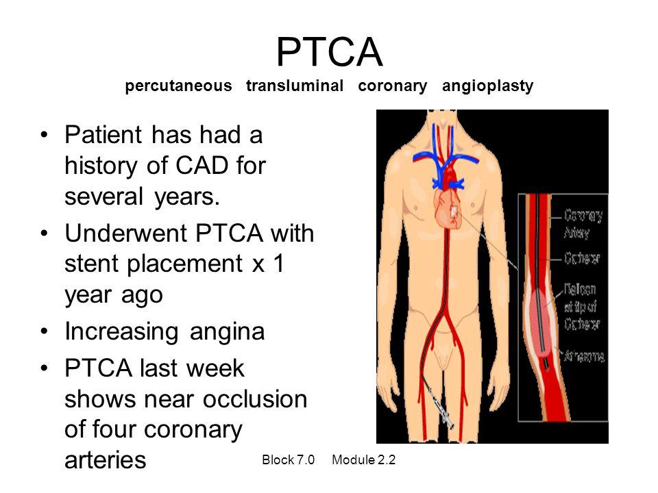 PTCA percutaneous transluminal coronary angioplasty