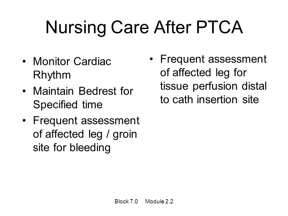 Nursing Care After PTCA