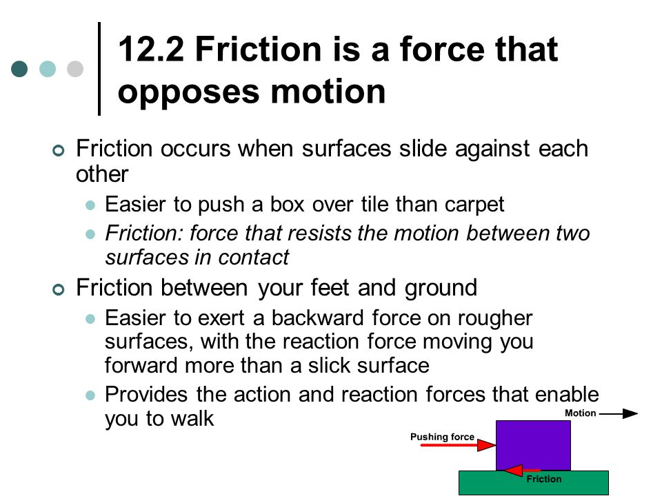 12.2 Friction is a force that opposes motion