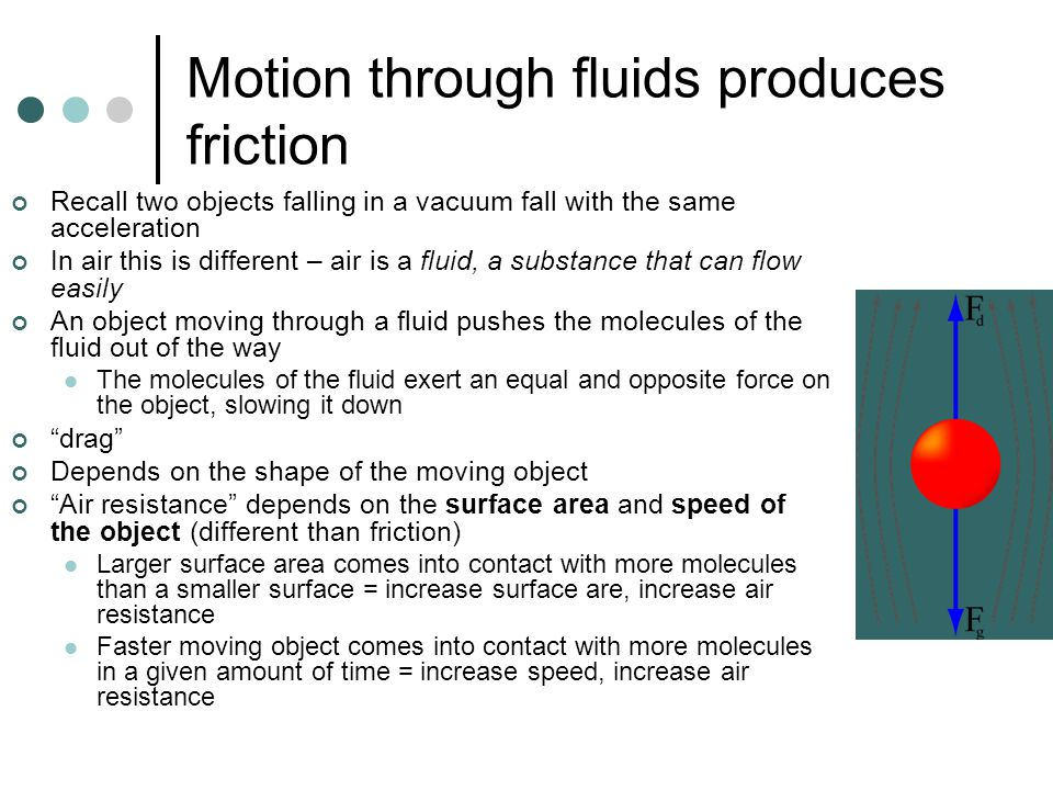 Motion through fluids produces friction
