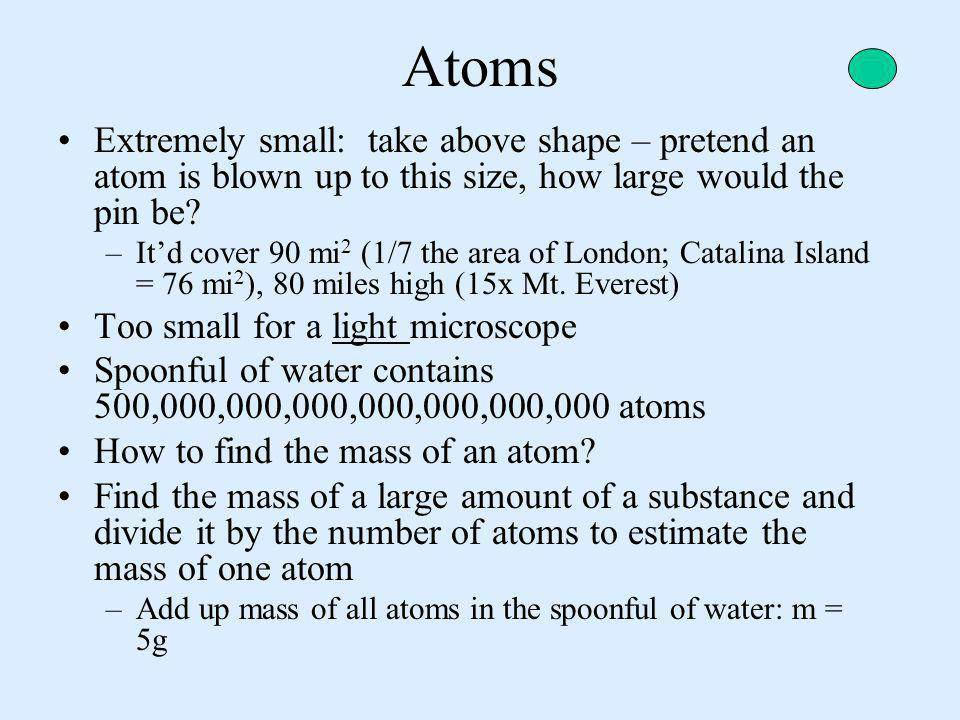 Atoms Extremely small: take above shape – pretend an atom is blown up to this size, how large would the pin be