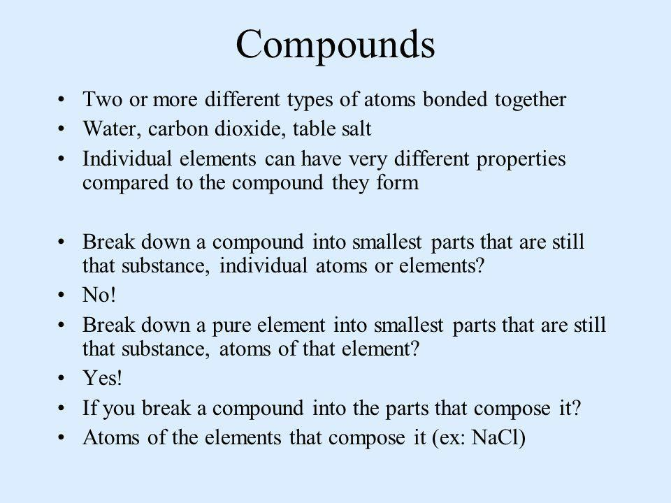 Compounds Two or more different types of atoms bonded together