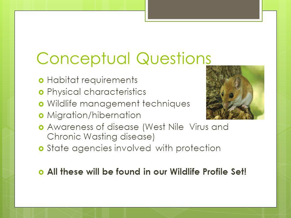 Conceptual Questions Habitat requirements Physical characteristics