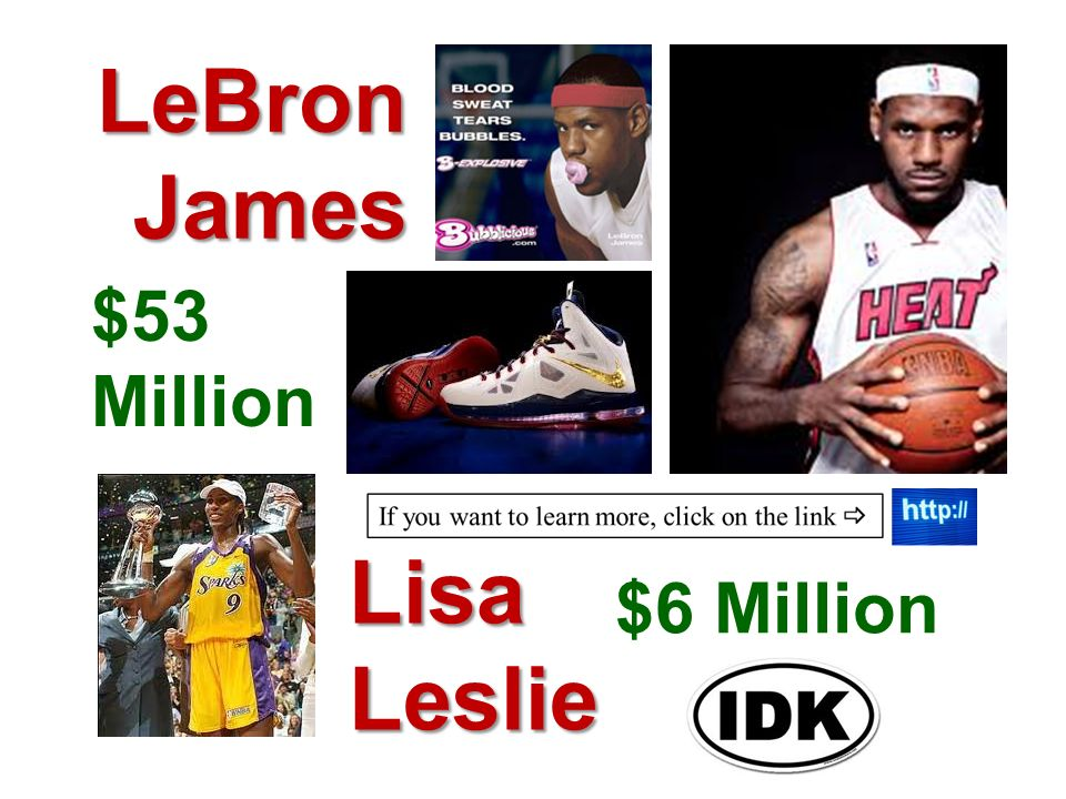 LeBron James $53 Million Lisa Leslie $6 Million