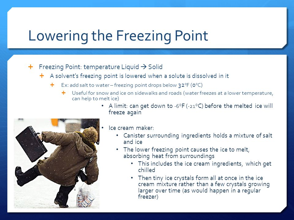 Lowering the Freezing Point