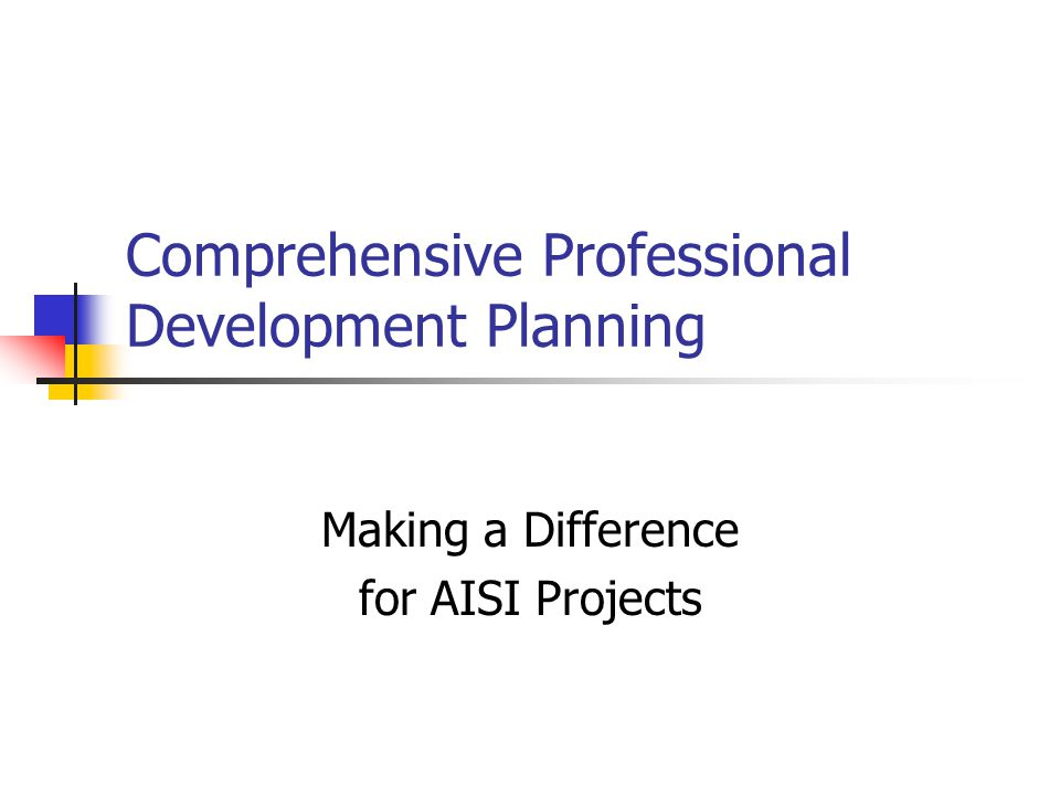Comprehensive Professional Development Planning