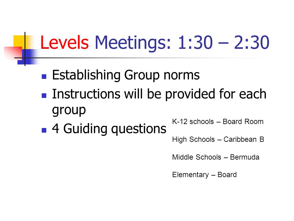 Levels Meetings: 1:30 – 2:30 Establishing Group norms