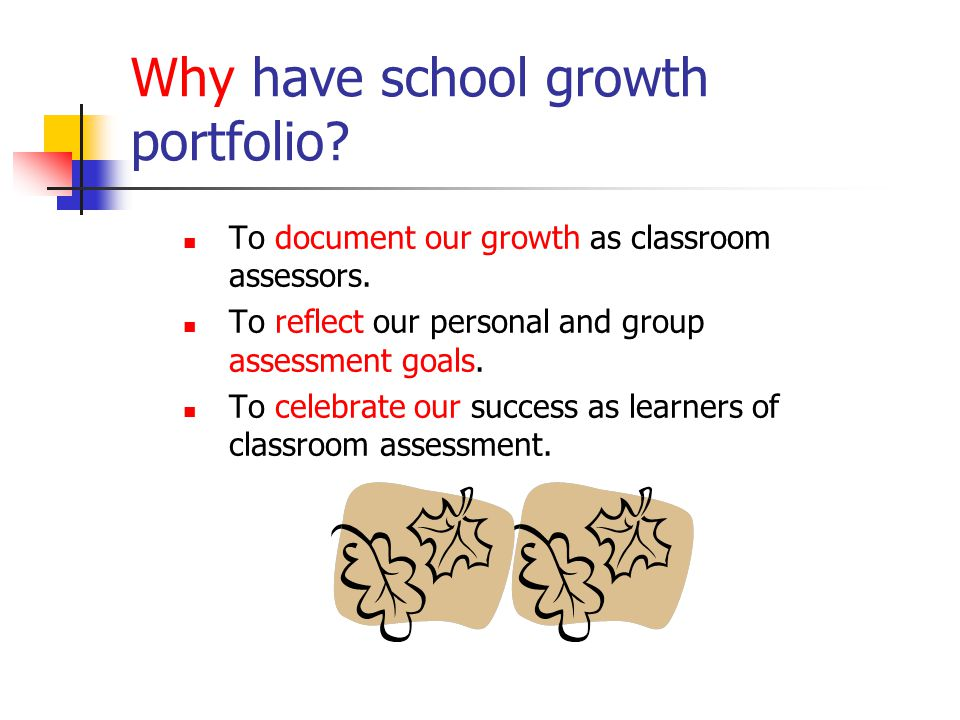Why have school growth portfolio