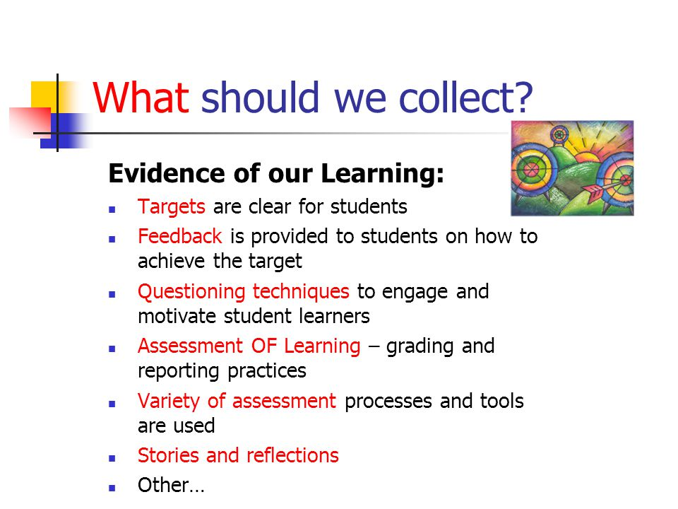 What should we collect Evidence of our Learning: