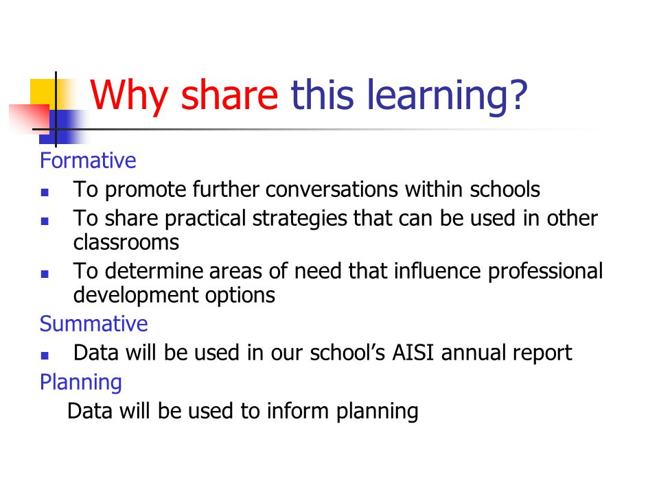 Why share this learning