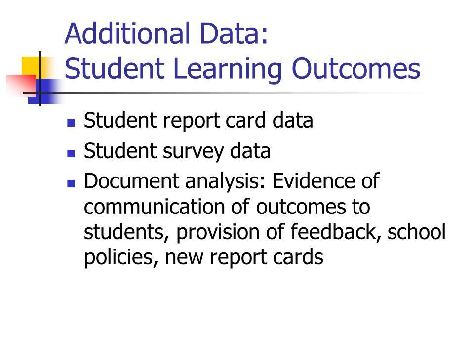 Additional Data: Student Learning Outcomes