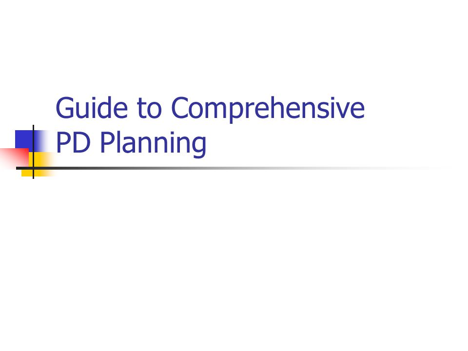 Guide to Comprehensive PD Planning
