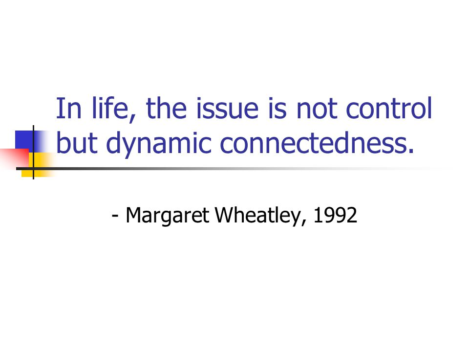 In life, the issue is not control but dynamic connectedness.