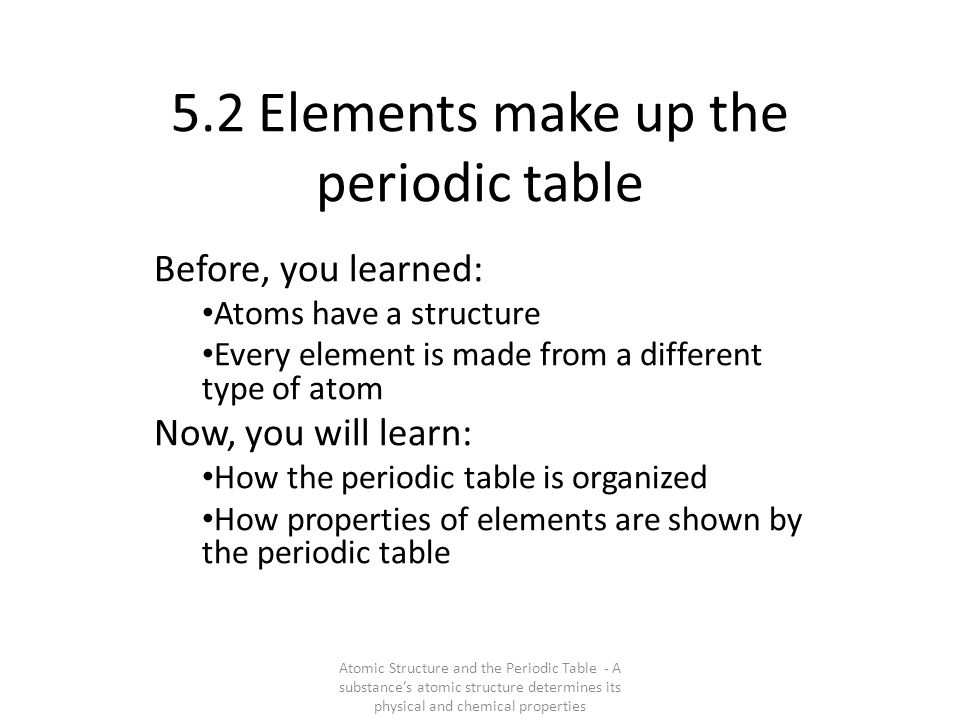 5.2 Elements make up the periodic table