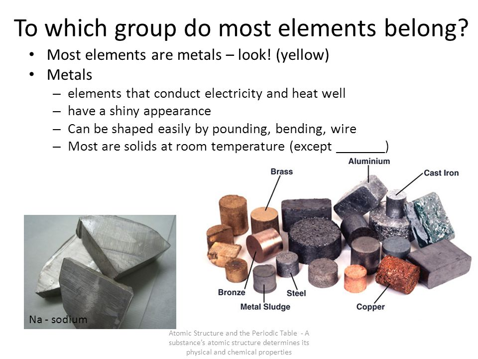 To which group do most elements belong