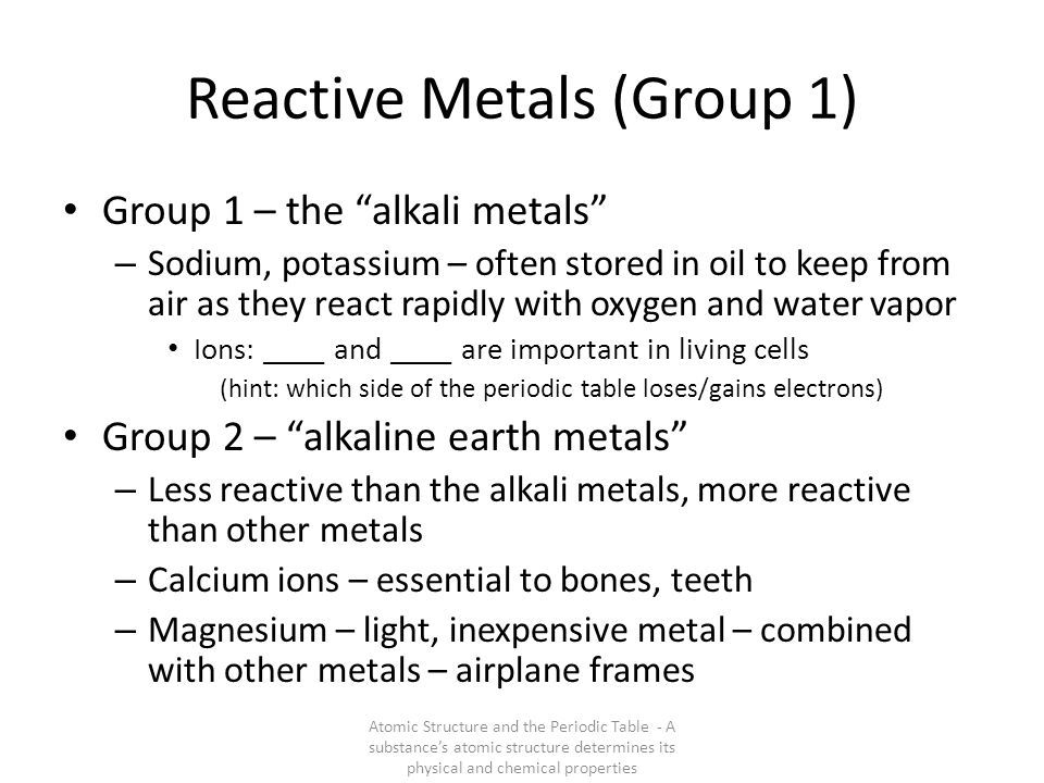 Reactive Metals (Group 1)