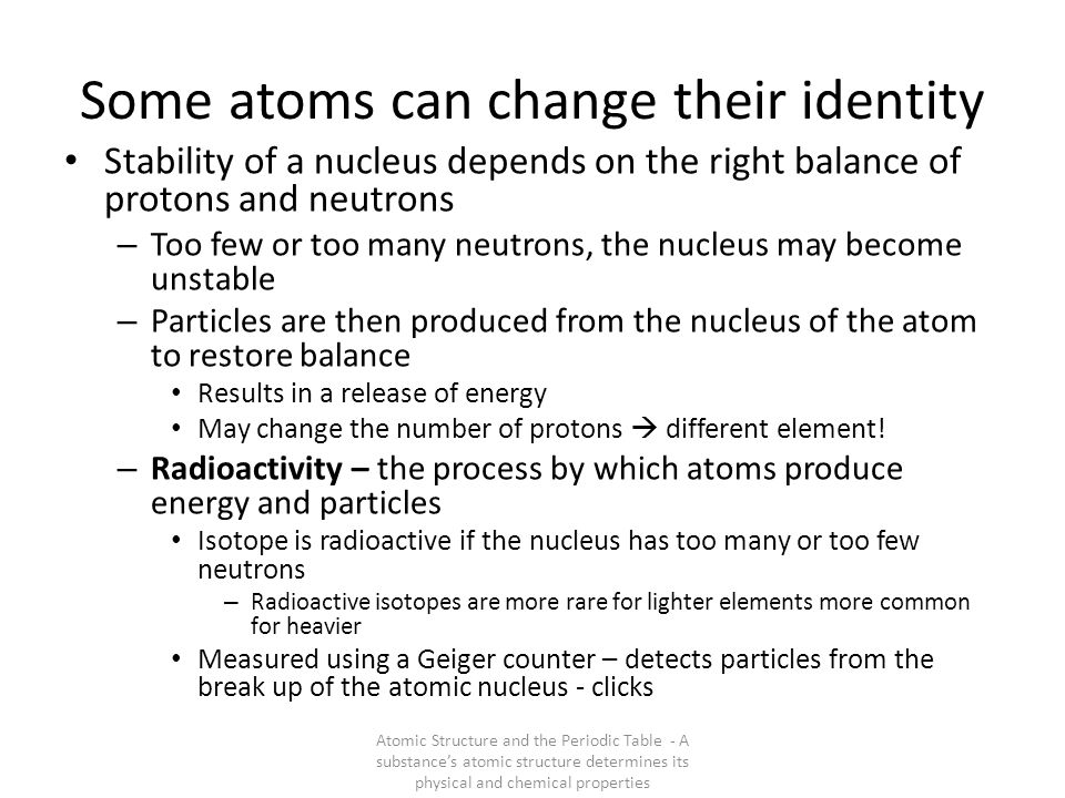 Some atoms can change their identity
