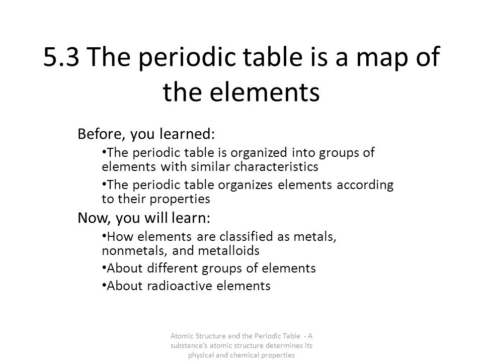 5.3 The periodic table is a map of the elements