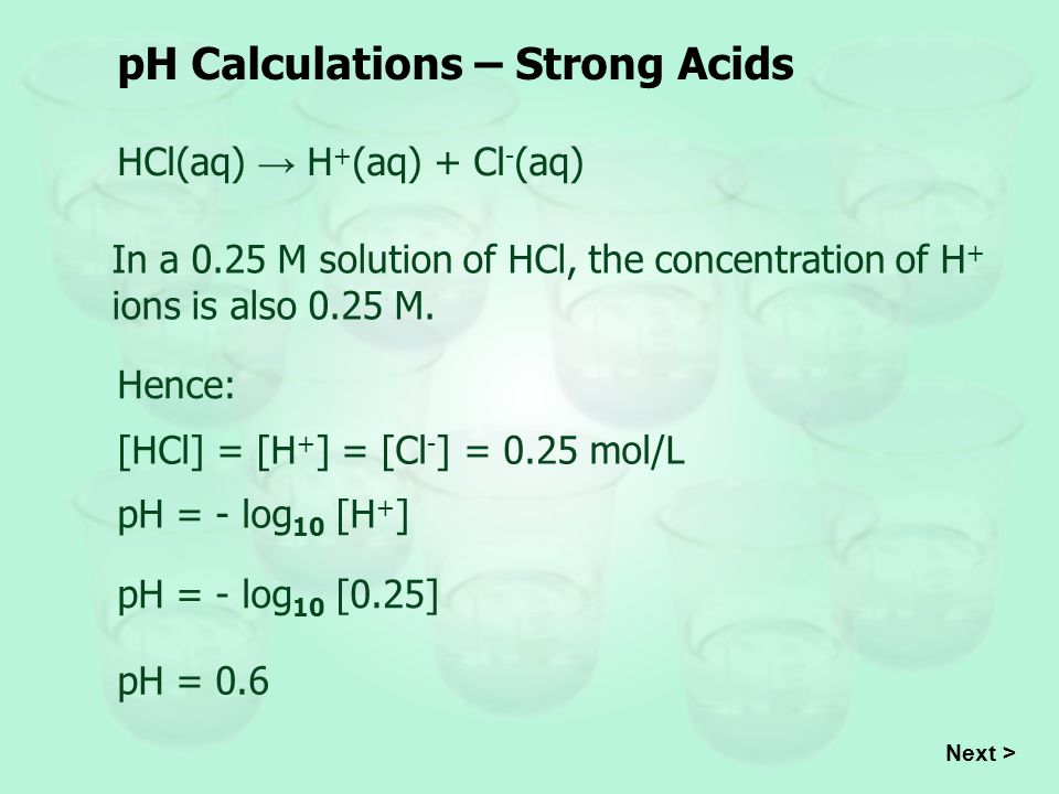 pH Calculations – Strong Acids