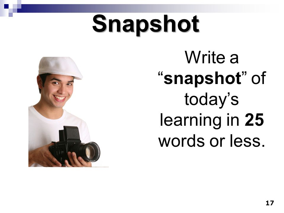 Write a snapshot of today's learning in 25 words or less.