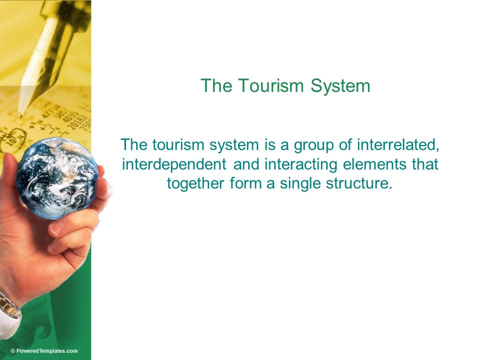 The Tourism System The tourism system is a group of interrelated, interdependent and interacting elements that together form a single structure.